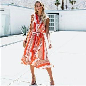 M - Vici Redwood striped one shoulder dress